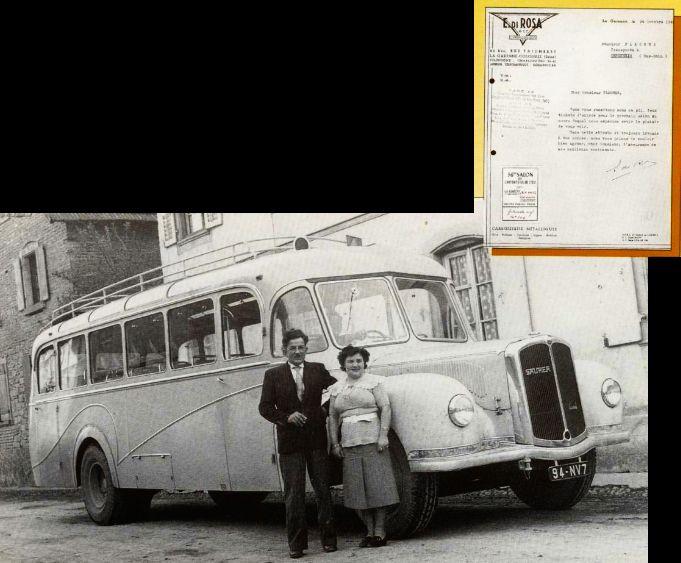 Premier car neuf, un Saurer de 1949 avec le courrier annonçant que le véhicule est prèt à être livré.